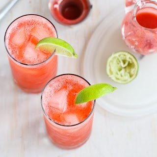 Fresh Strawberry & Lime Tom Collins Cocktail.