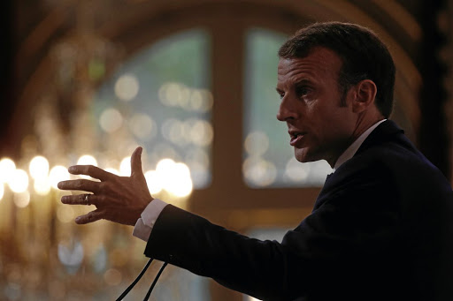 French President Emmanuel Macron tells the French ambassadors' conference in Paris on Monday that it is up to European countries to guarantee the region's security. Picture: REUTERS