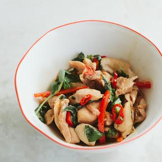 Chicken with Thai Basil and Chili Garlic Sauce.