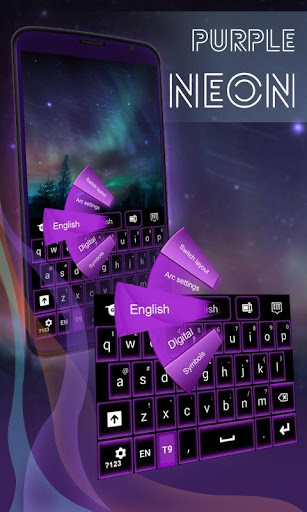 紫色のネオンのキーボード無料