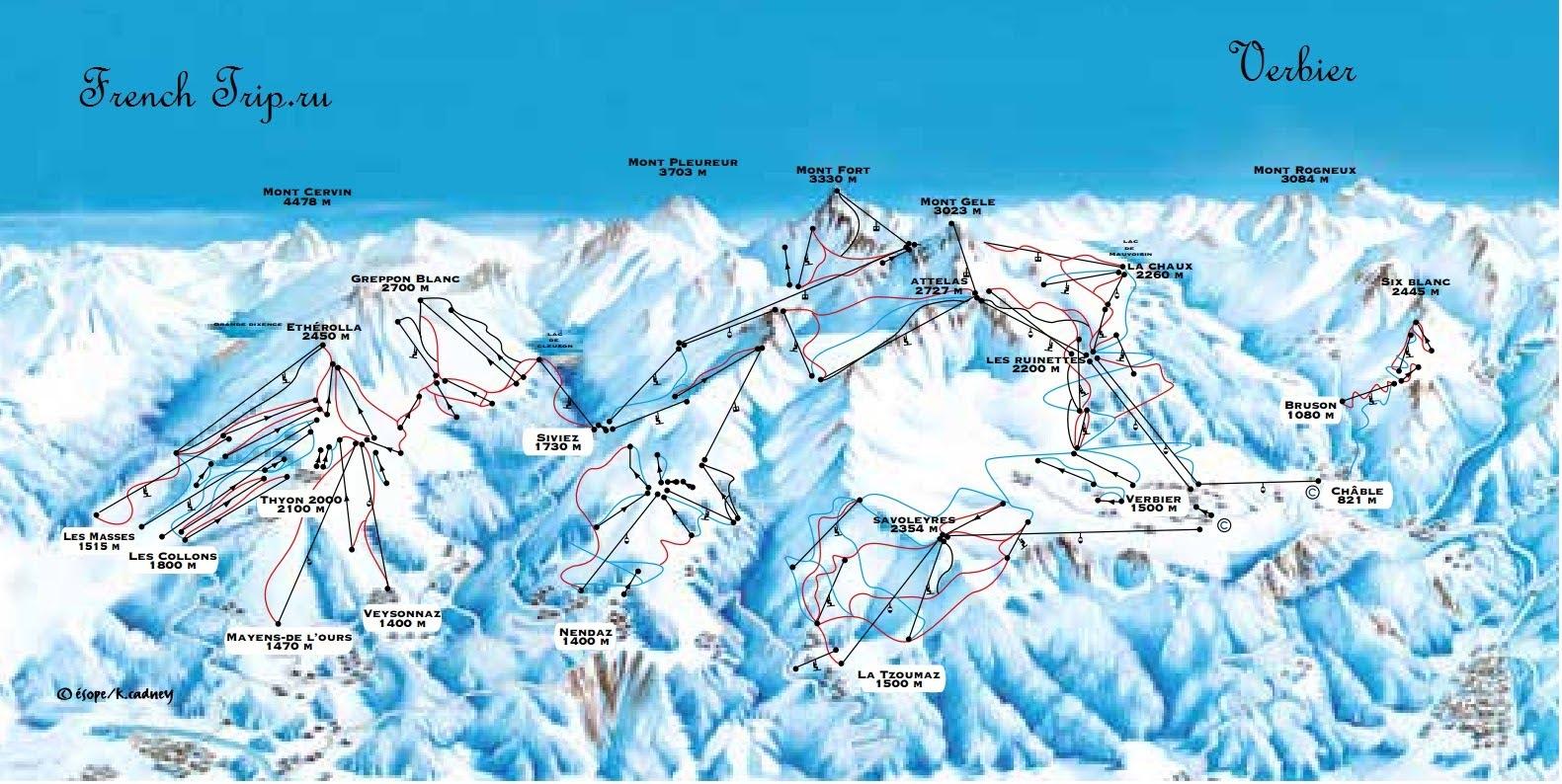 Карта горнолыжных склонов Вербье - Verbier (Вербье), Швейцария