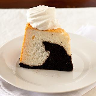Black and White Angel Food Cake with Vanilla Bean Whipped Cream Recipe