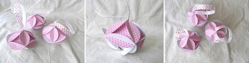 Photo: Glob romboidal origami carton de culoare roz cu buline si carton alb, piese standardizate, agăţătoare din panglica albă cu buline roşii Dimensiuni 7,5 cm x 5,5 cm realizat de Maia Martin Se poate folosi la decorarea casei de sărbători, la decorarea bradului de Crăciun, ca mărturii nuntă, mărturii botez Preţ: 6 lei In stoc 2 bucati  http://dekoratiuni.blogspot.ro/2014/04/glob-romboidal-origami.html