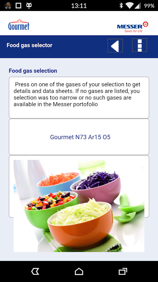 Food gases- screenshot