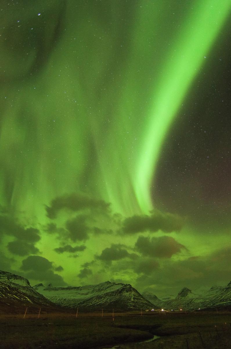 Aurores boréales sur Fáskrúðsfjörður