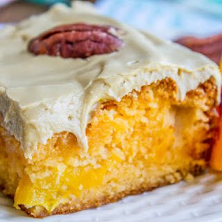 Peach Cake with Brown Sugar Frosting and MY SISTER WROTE A NOVEL, BUY IT!.