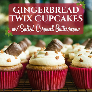 Twix Gingerbread Cupcakes w/Salted Caramel Buttercream