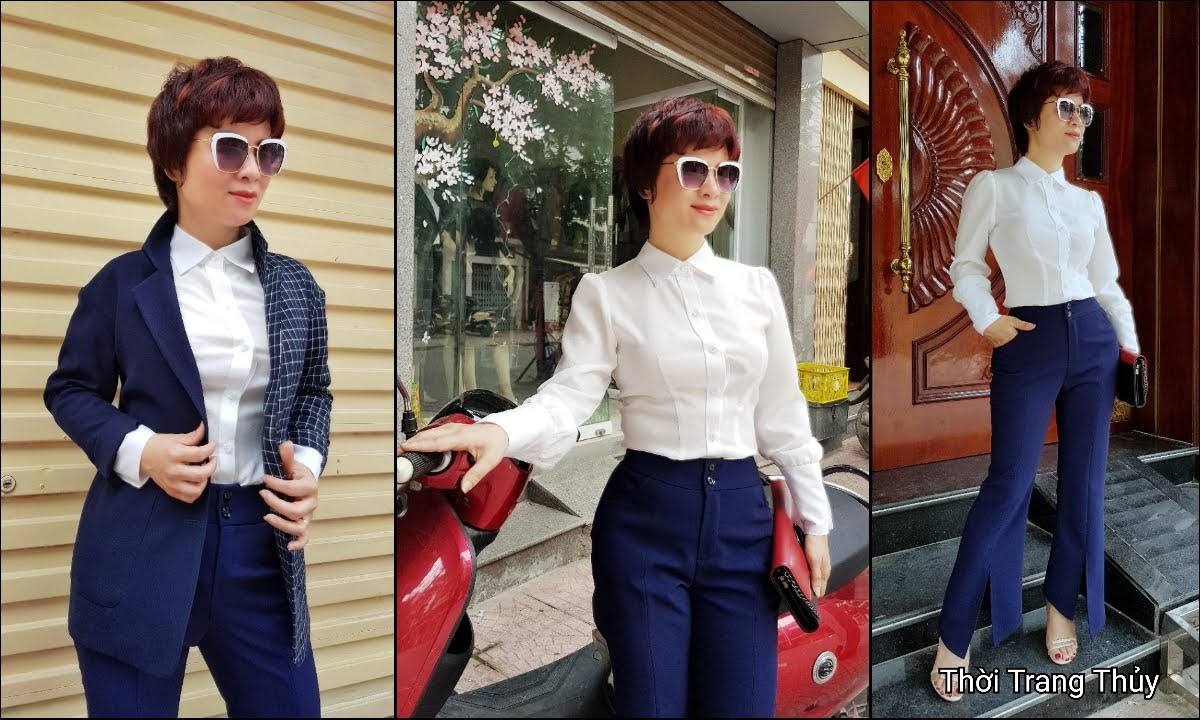 Áo sơ mi nữ và quần ống vẩy xẻ tà mặc tới công sở thời trang thủy hải phòng