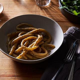 Pici Cacio e Pepe with Garlic & Marjoram.