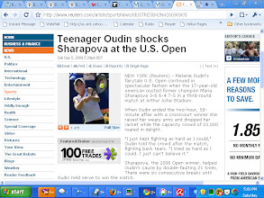 Photo: Captured Screen shot of Reuters News Story of Shocking Upset of Former World's #1 Maria Sharopova of Russia by Unseeded Teen Phenom Melanie Oudin of Georgia as Looked up just mins after Watching The Giant Kill on CBS 19 Tyler ( Ch 11 Suddenlink Cable -Tyler, TX)  Under Live Announced Tyler PD Surveillance - The Dentist's NERVE Block was Explained (Numbing Medicine- Sodium Channel Blockers as Found in SOLARCAINE Over The Counter Sunburn Pain Relief and The Analogy To Using This To Relive Pain During Childbirth with Numbing Medicine Called an EPIDURAL with Sodium Channel Blocker Bupvicaine & Short 1/2 Life Synthetic Opiate Receptor Agonist Fentnyl-  Also FIRST AMENDMENT Protected Photography of Low-Risk Jail along with The WRITTEN REPORTS (AS Required by Texas Code of Criminal Procedure Art 2.133) was Read during This LIVE FEED with the Conflicting Statements and How Photography is Legal in PUBLIC AREAS like 2811 PUBLIC RD. as being Explained in REALTIME To Smith County Deputies Lt LIle ,Sgt R.M. Smith & Woods