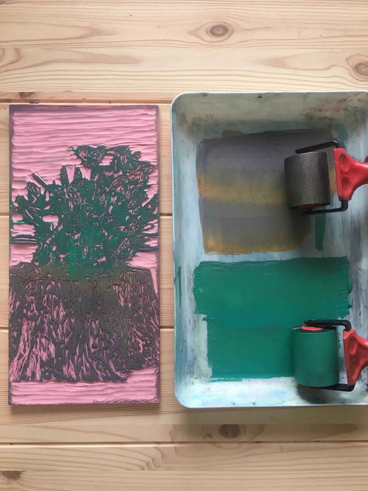 Cactus tree linocut printmaking