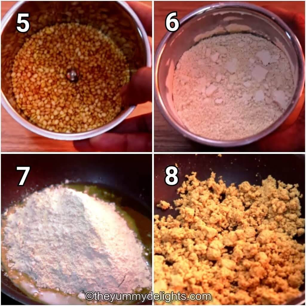 step by step image collage of grinding the roasted moong dal and roasting it in ghee