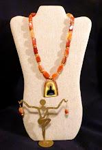 Photo: #148 MOTHER'S WARMTH ~ МАМИНЕ ТЕПЛО - copper enamel pendant, carnelian, 14K gold vermeil $100/set SOLD