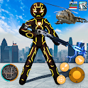 Amazing Neon Iron Stickman Rope Hero Gangstar City icon