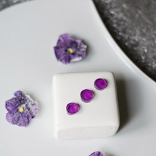 Heavenly Vanilla Flavored Mascarpone Square with Violets Recipe