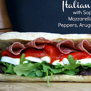 Italian Sub with Soppressata, Mozzarella, Roasted Peppers, Arugula & Olive Spread
