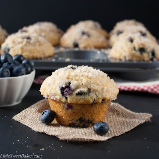 Bakery Style Blueberry Streusel Muffins.