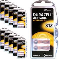 312 60-Pack DURACELL - Hörapparatsbatterier