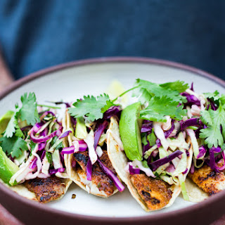Quick Grilled Fish Tacos with Cilantro Lime Cabbage Slaw.