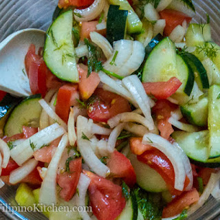 Simple Russian Cucumber and Tomato Salad.