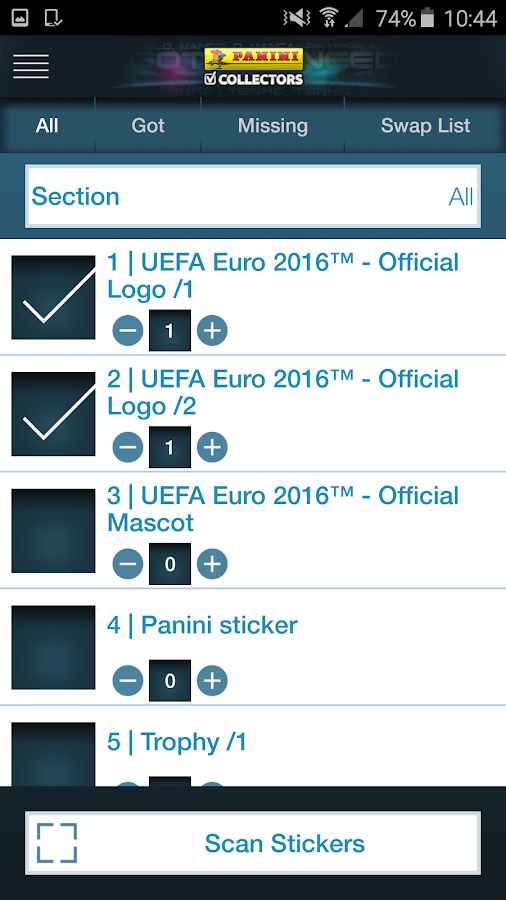Panini Collectors- screenshot