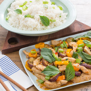 Sweet Chili & Basil Chicken with Peppers, Eggplant & Coconut Jasmine Rice