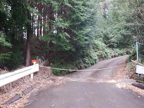 林道はロープで通行止め