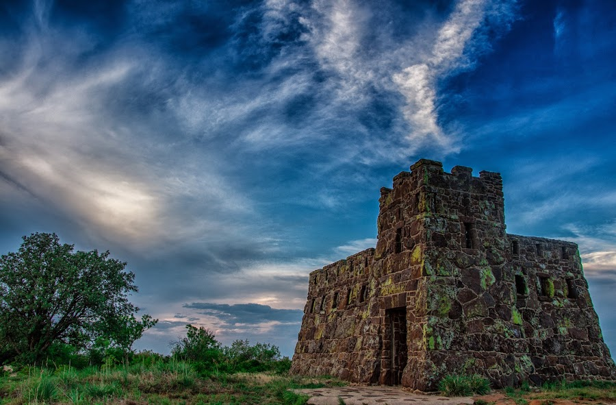 The Castle by John Bowers - Landscapes Prairies, Meadows & Fields ( coronado heights, castle, prairie, kansas )