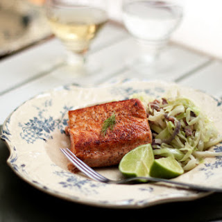 Salmon Fillet and Cabbage with Bacon