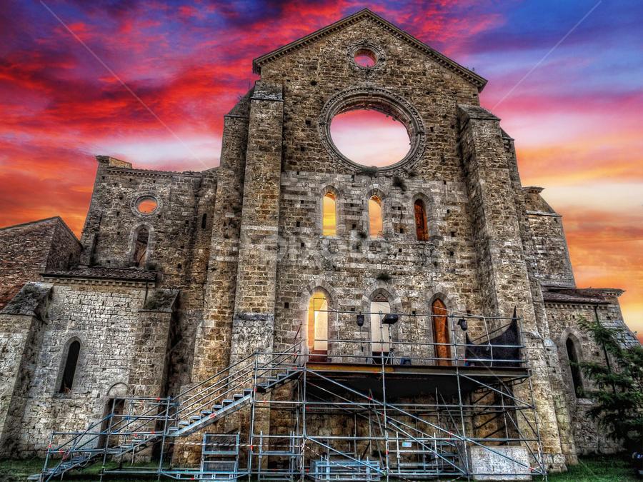San Galgano by Andrea Conti - Buildings & Architecture Public & Historical ( tuscany, church, sunset, san galgano, architecture, landscape, worship, italy, abbey, landmark, travel,  )