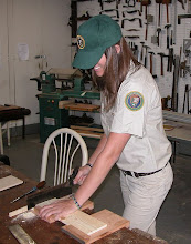 Photo: Working in the National Park Service wood shop, constructing a bee coursing box for museum use and interpretation.  Summer 2010 Cultural Resources Diversity Internship at Ozark National Scenic Riverways in Missouri.