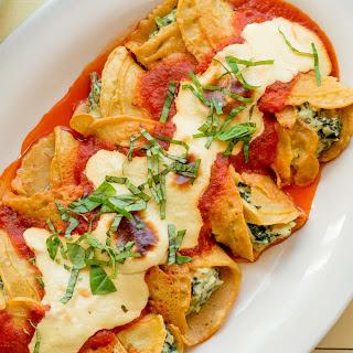 Crespelle With Spinach, Ricotta, and Marinara [Vegan, Gluten-Free]