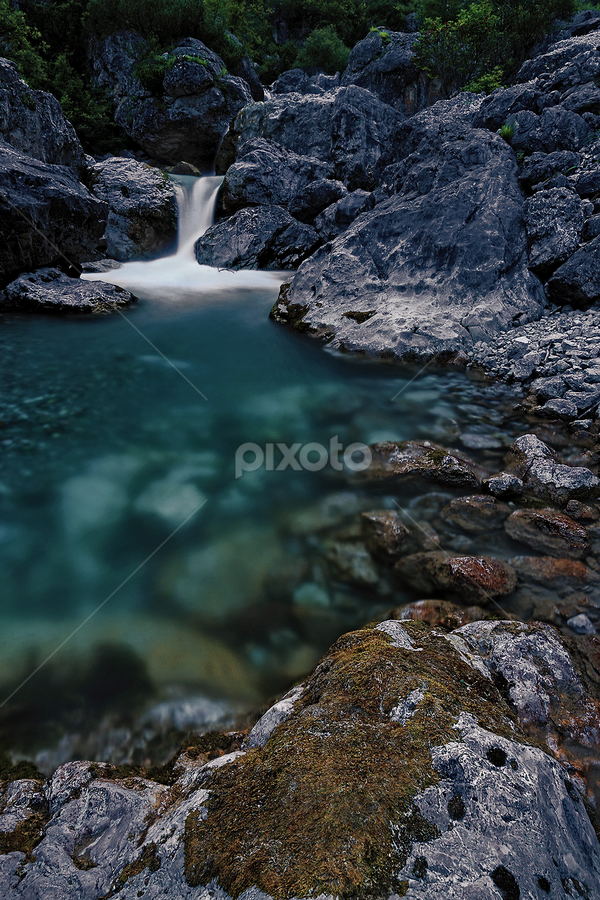 Aqueous night by Cristiano Trombelli - Landscapes Deserts ( notte, acqua, hill, mountain, torrente, waterfall, stone, night, forest )