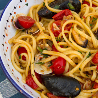 Spaghetti with Clams, Mussels, and Tomatoes.