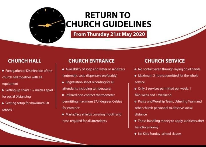 A document titled Return to church guidelines from May 21 has been circulated on social media.