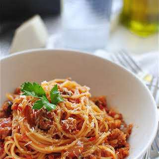 Angel Hair with a Tomato Meat Sauce.