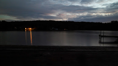Photo: Night falls on our last night at the lake.