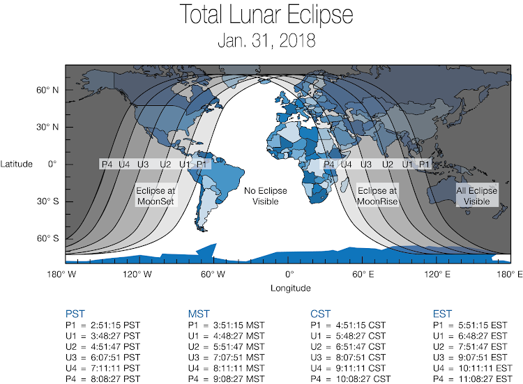 "Global map showing areas of the world that will experience (weather permitting) the Jan. 31, 2018 ""super blue blood moon."" The eclipse will be visible before sunrise on Jan. 31 for those in North America, Alaska and Hawaii. For those in the Middle East, Asia, eastern Russia, Australia and New Zealand, the ""super blue blood moon"" can be seen during moonrise the morning of the 31st."