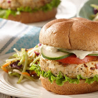 Greek Chicken Burgers with Lemon Pepper Yogurt Sauce.