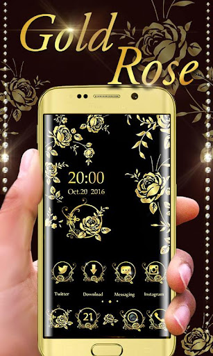 玩免費個人化APP|下載Gold Rose GO Launcher Theme app不用錢|硬是要APP