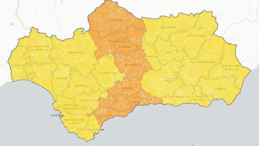 Mapa del nivel de alerta en las provincias andaluzas.