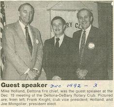 Photo: Vice-President Frank Knight, Deltona Fire Chief Mike Holland, President Joe Mongolier - December 3, 1992