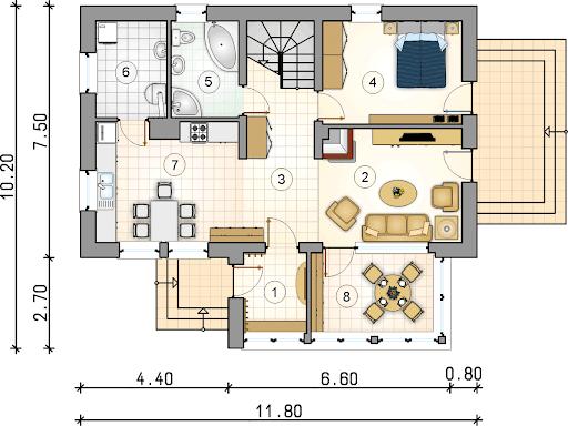 Dom Bacy - Rzut parteru
