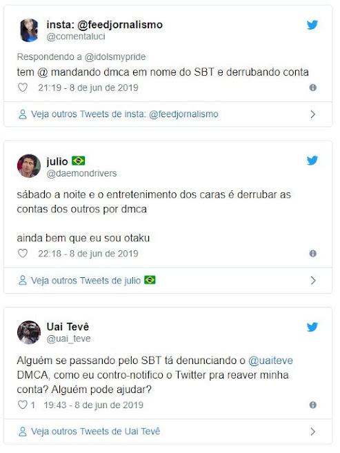 Contas do Twitter que divulgam imagens do SBT estão sendo derrubadas