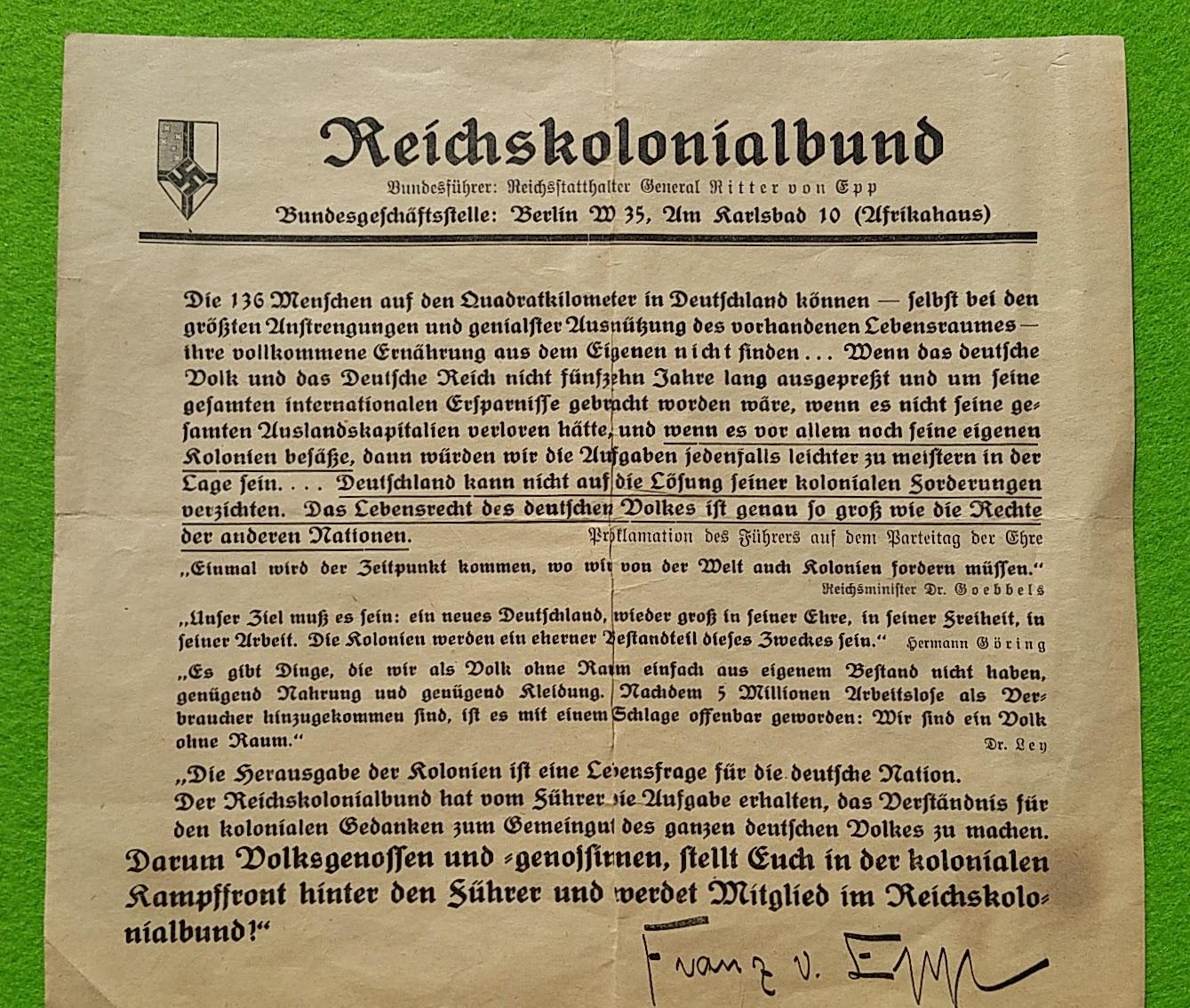 Flugblatt Reichskolonialbund - 1936