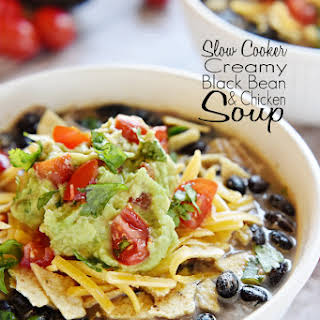 Slow Cooker Creamy Black Bean & Chicken Soup.