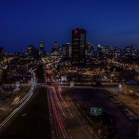 by Mario Guay - City,  Street & Park  Night