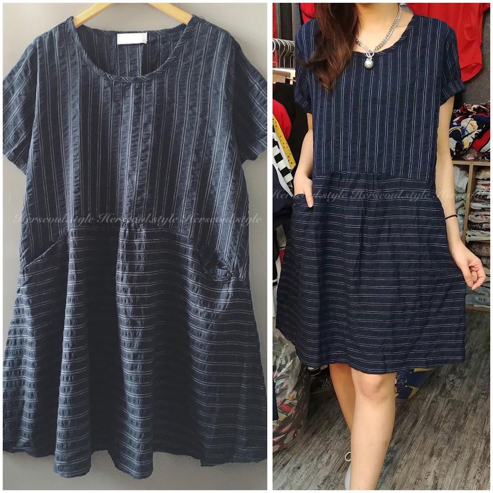 💞麻棉間紋連身裙💞