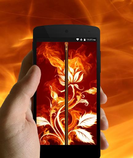 Fire Zipper Lock Screen