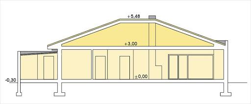 Alabama wersja C z pojedynczym garażem - Przekrój